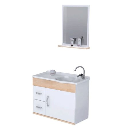 Kit De Gabinete Para Banheiro Siena 2 Gavetas 1 Porta Aya Rorato