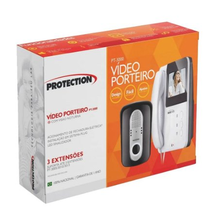 Vídeo Porteiro Colorido Eletrônico Branco PT-3000 Protection