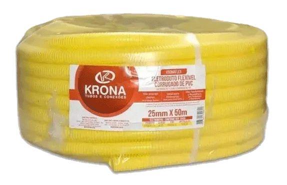 Conduite Amarelo Corrugado 25MM x 50M Krona