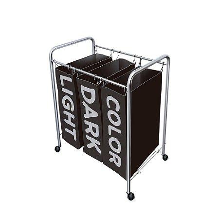 Organizador Para Roupas Sujas Com 3 Cestos Prata Com Preto Secalux