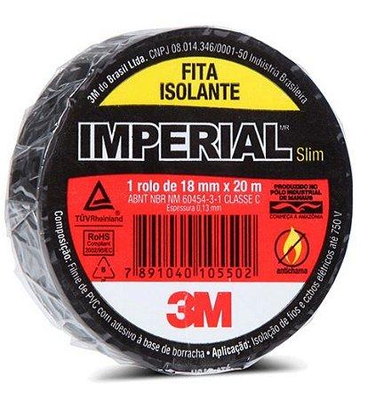 Fita Isolante Imperial 3M 18mm x 20m Preta