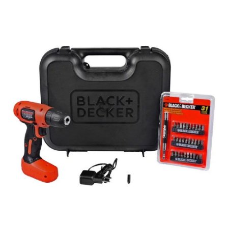 Parafusadeira e Furadeira à Bateria Black+Decker LD008K31-BR 8V + 31 Acessórios + Carregador Bivolt