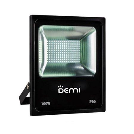 Refletor LED Demi 100W 6500K Luz Branca Bivolt Preto
