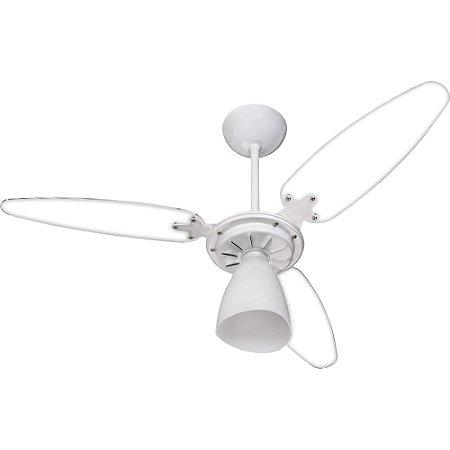 Ventilador de Teto Wind Light 3 Pás Transparente e Branco Ventisol