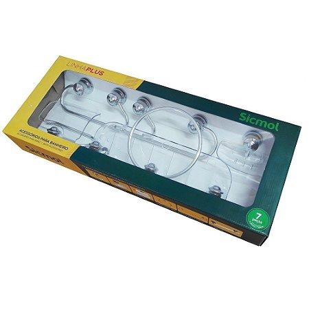 Kit de Acessórios Para Banheiro Plus Sicmol 7 peças em Alumínio