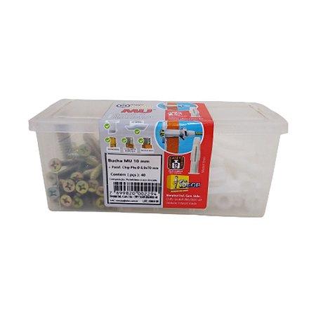 Bucha MU Plástica 10 Com Parafuso Chip PHS 6,0x70 40pçs Sfor