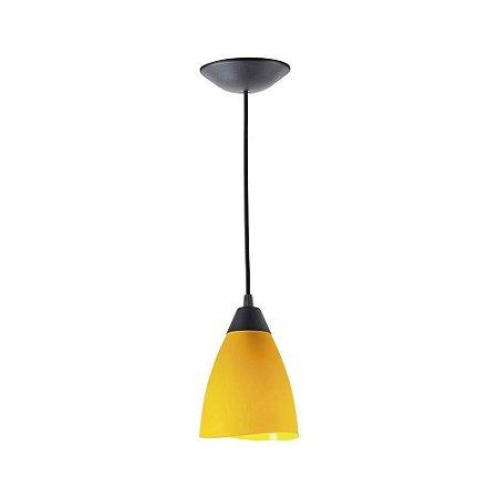Pendente Pop Tulipa 1 Lâmpada E-27 Amarelo/Preto Kin Light