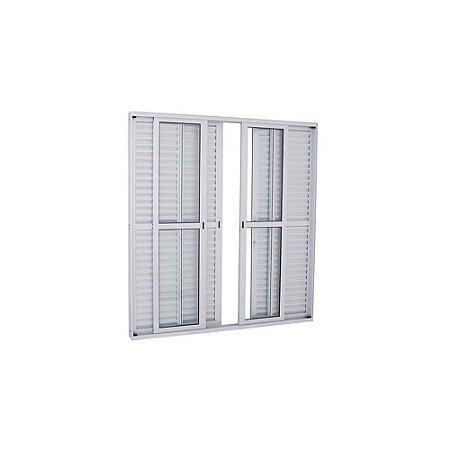 Porta De Correr Aluminio Balcão 6 Folhas 2,10x1,50cm  Branca Esquadrisul