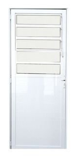 Porta De Aluminio Lambri Em 2,20x90cm Sem Puxador Esquerda Branca Esquadrisul