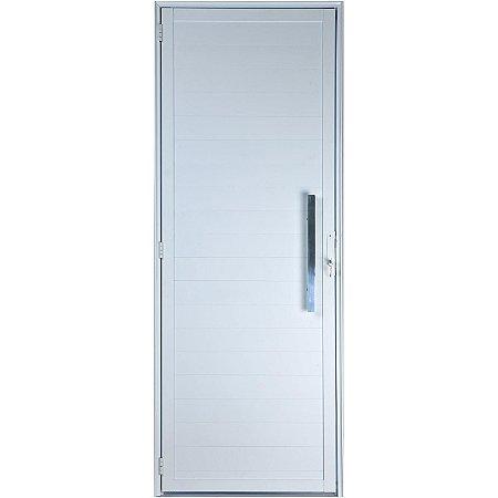 Porta De Aluminio Lambri Em 2,10x0,80cm Com Puxador Esquerda Branca Esquadrisul
