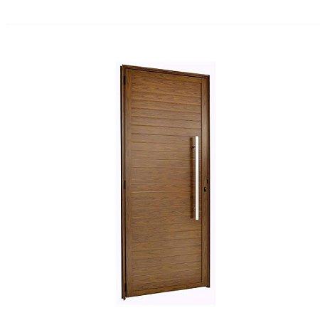Porta De Aluminio Cerejeira Lambril Direita 2,10x0,80cm Com Puxador Esquadrisul