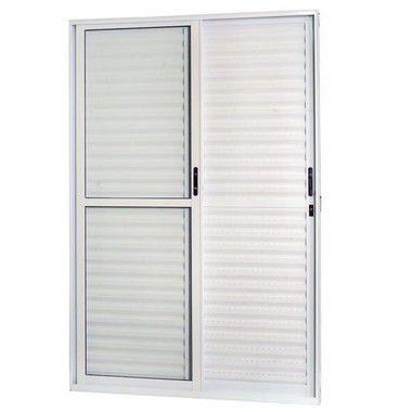 Porta De Correr Aluminio Balcão 3 Folhas 2,10x1,50cm Branca Esquadrisul