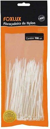 Abraçadeira De Nylon Branca 200x2,5mm Com 100 Pecas Foxlux