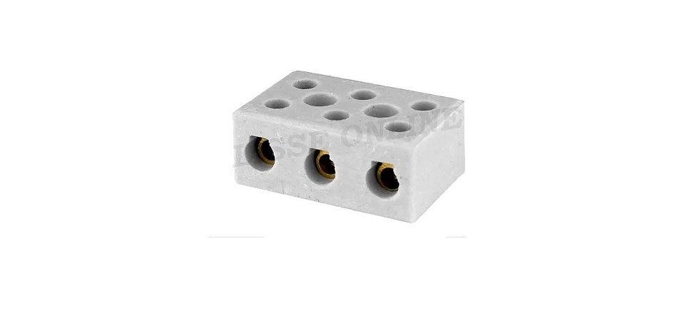 Conector Porcelana Tripolar 10MM 25A Foxlux