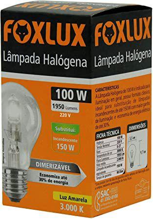 Lâmpada Halógena Classica 100W 220V Foxlux