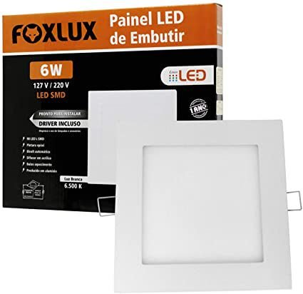 Painel De Led 6W De Embutir Branco Quadrado Bivolt Foxlux