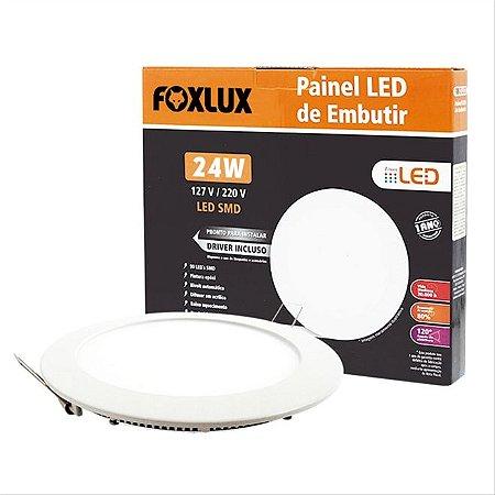 Painel De Led 24W De Embutir Branco redondo Bivolt Foxlux