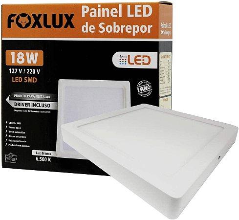 Painel De Led 18W De Sobrepor Branco Quadrado Bivolt Foxlux