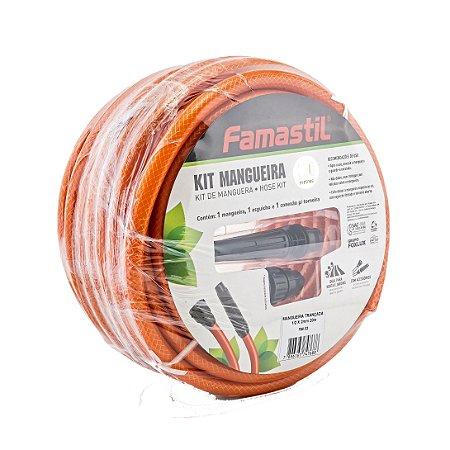 Kit De Mangueira Com 15 Metros Laranja Famastil