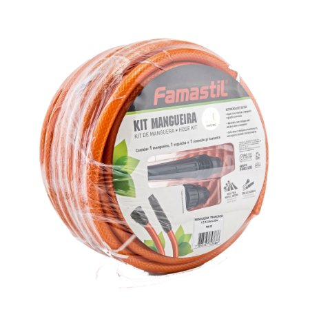 Kit De Mangueira Com 30 Metros Laranja Famastil