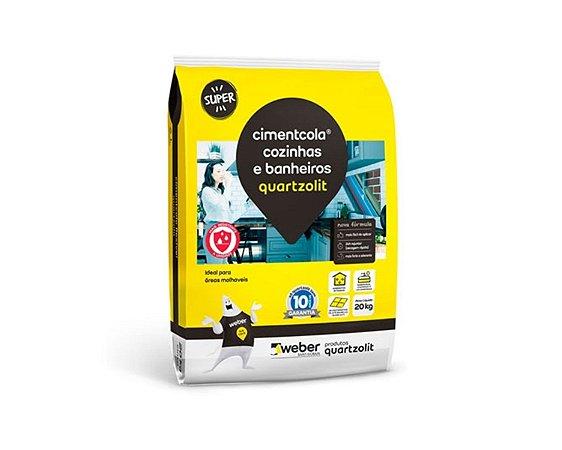 Argamassa AC1 Cimentcola Para Cozinhas e Banheiros 20KG Cinza Quartzolit