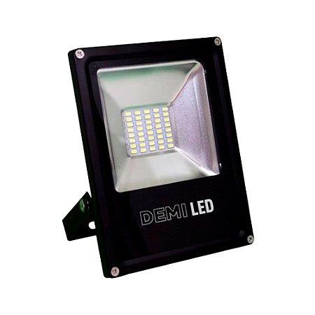 Refletor LED Demi 30W 6500K Luz Branca Bivolt Preto