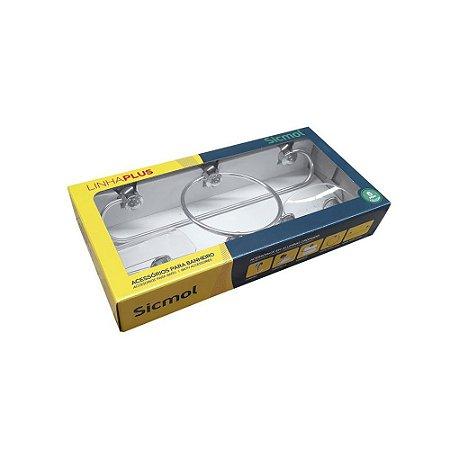 Kit Acessórios para Banheiro Plus Copa 6 Peças em Alumínio Sicmol