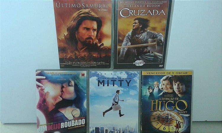 Lote de 5 DVDs - Cruzada, Beijo Roubado, Invenção Hugo Cabret, Última Cruzada, Vida Secreta de Walter Mitty