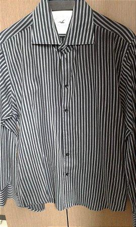 Camisa Social Hollister, manga longa, cor preta com listras verticais cinza, Tam. M, 100% algodão