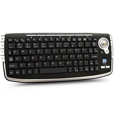 teclado trackball 2.4 GHZ sem Fio - Preto Bright