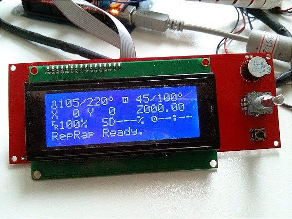 Kit CPU Arduino Mega2560 Rev3 + Placa RAMPS + 4 drivers Pololu A4988 + LCD