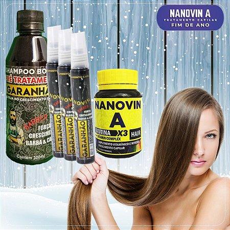 Kit Bombástico Nanovin A (Shampoo + Tônico + Suplemento) Garanhão