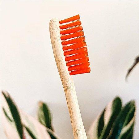 Escova de dente de bambu cerdas vermelhas