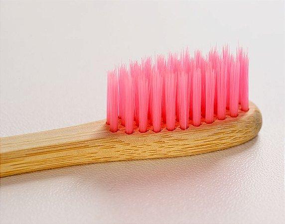 Escova de dente de bambu personalizada - cerdas rosas - Bambu For You