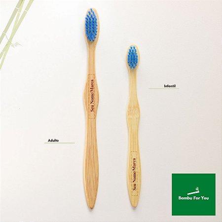 Escova de dente infantil de bambu personalizada - cerdas azuis