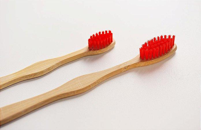 Escova de dente infantil de bambu personalizada - cerdas vermelhas
