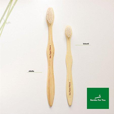 Escova de dente infantil de bambu personalizada - cerdas brancas