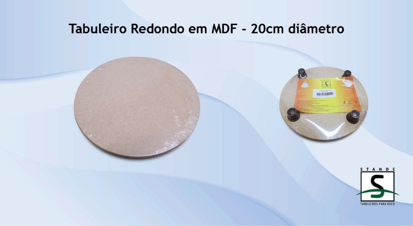 Tabuleiro em MDF Redondo Natural