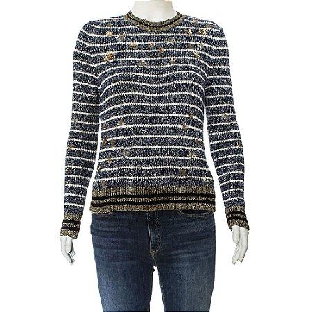 VALENTINO | Pullover Valentino Lã Listrado Azul