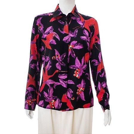 ISOLDA | Camisa Isolda Seda Preta Estampada