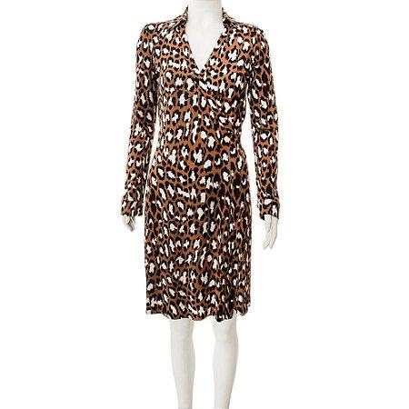 DIANE VON FURSTENBERG   Vestido Diane von Furstenberg Seda Estampado Caramelo