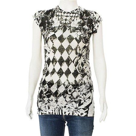 BALMAIN | Camiseta Balmain Algodão Estampada Preta e Branca