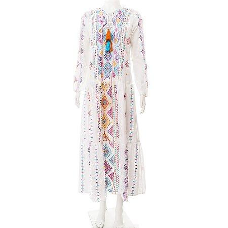 MARIANA PENTEADO   Vestido Marroquino Mariana Penteado Algodão Branco