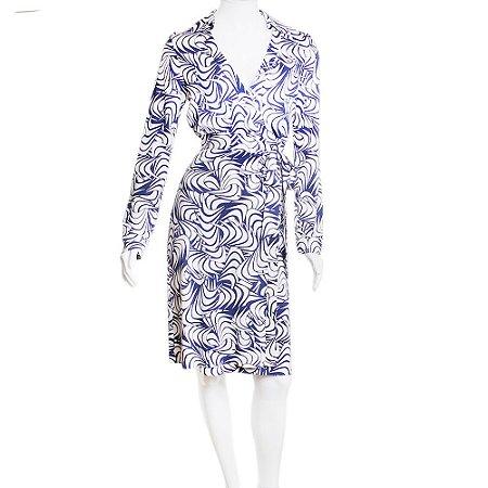 DIANE VON FURSTENBERG | Vestido Diane Von Furstenberg Seda Wrap Marinho e Branco