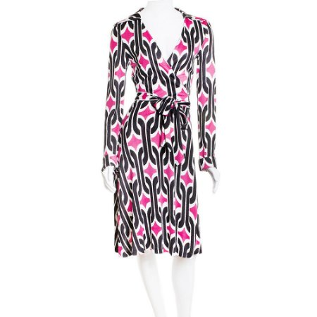 DIANE VON FURSTENBERG | Vestido Diane Von Furstenberg Seda Wrap Rosa, Preto e Branco