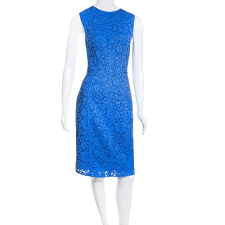 CAROLINA HERRERA   Vestido Carolina Herrera Algodão Rendado Azul
