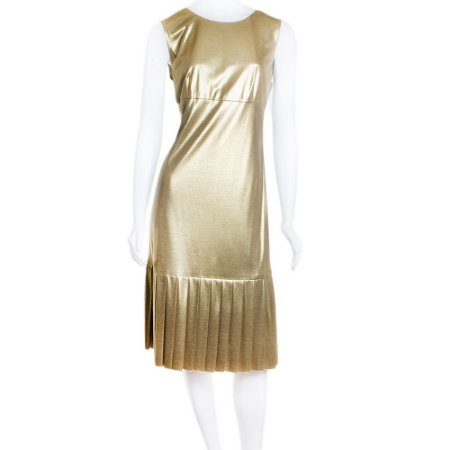 CHANEL   Vestido Chanel Seda Dourado