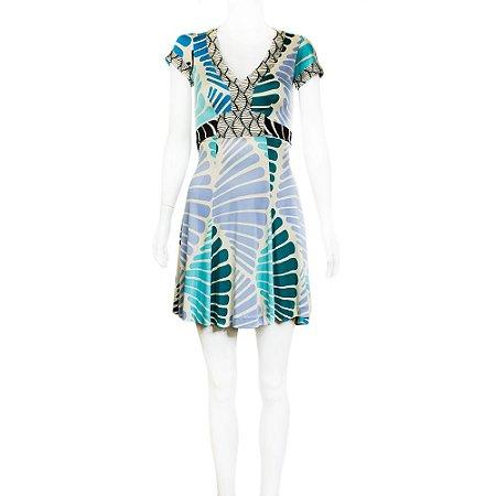 ISSA | Vestido Issa Seda Estampado Azul e Branco