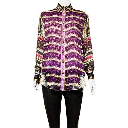 BALMAIN | Camisa Balmain Seda Estampada Roxa