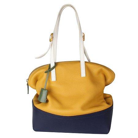 FENDI   Bolsa Tote Fendi Couro Amarela e Azul